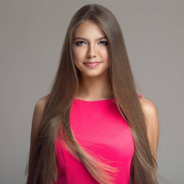 young beautiful woman with keratin treated hairhair.