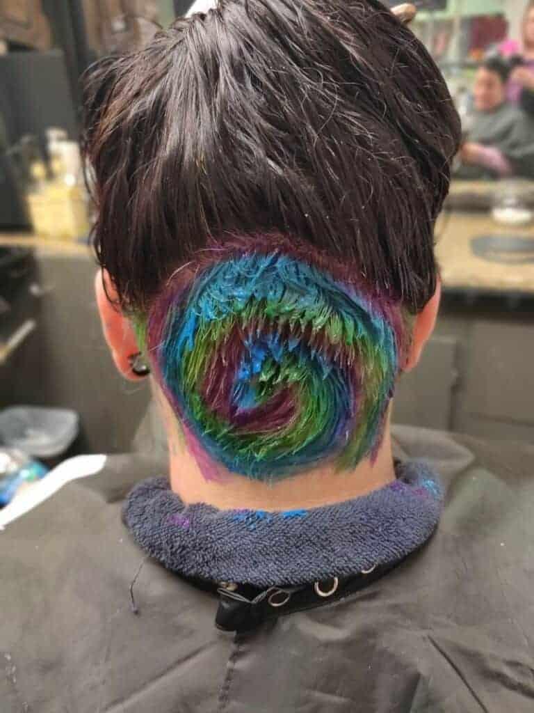 Short rainbow hair