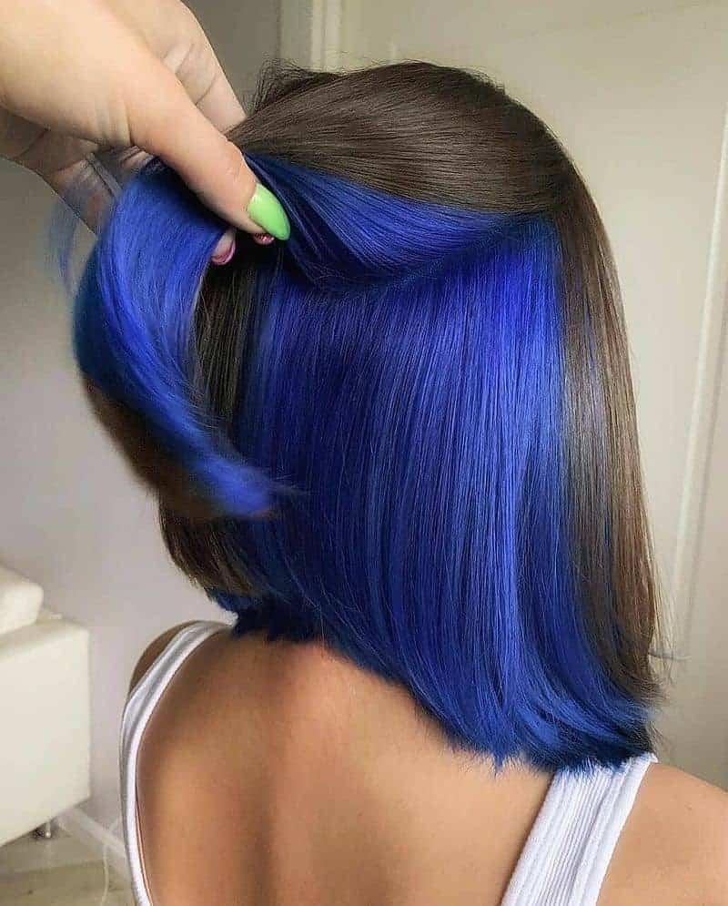 underneath blue hair color