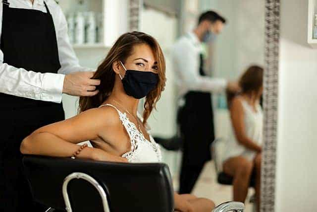 happy client in a hair salon
